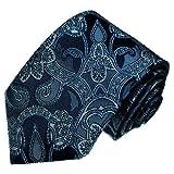 Lorenzo Cana Marken Krawatte aus 100% Seide jacquard gewebt blau Barockmuster floral Paisley - 25005