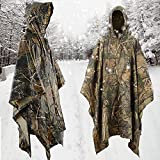 Aodoor Camo Waterproof Rain Jacket, Multifunctional Outdoor Military Camouflage Raincoat Poncho,for Hunting Camping Military and with Emergency Grommet Corners for shelter use, Rain Poncho waterproof Camouflage Leaves