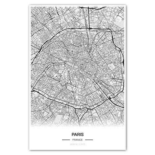 Zulumaps Poster 20x30cm Stadtplan Paris - Hochwertiger Kunstdruck