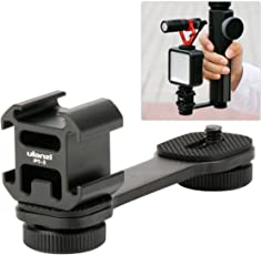 Ulanzi PT-3 Triple Cold Shoe Mounts Plate Microphone Led Video Light Extension Bracket Microphone Stand Rig Bracket for Zhiyun Smooth 4/Smooth Q/DJI OSMO Mobile 2/Feiyu Vimble 2 Gimbal Stabilizer