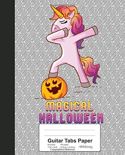 Guitar Tabs Paper: Book Dabbing Unicorn Pumpkin Halloween (Weezag Guitar Tabs Paper Notebook, Band 176)