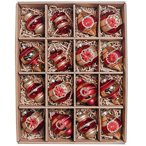 Valery Madelyn 16tlg. 5.5-8cm Luxuriös Rot und Gold Glas Weihnachtskugeln Weihnachtsbaumschmuck Weihnachten Deko Anhänger, inkl.Metallhaken Themen mit Baumrock (nicht inkl.) -