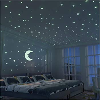 Fluorescent Stars And Moon   300 Pcs   Glow In The Dark Stars For Kid  Bedroom Wall Sticker Room Decoration For Boy Girl Baby