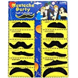 Pack of 12 Self Adhesive Assorted Fake Moustache / Mustache Set Fancy Dress Party Birthday Stylish