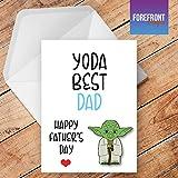 personalisierbar 'Yoda Best Vater' Star Wars Spoof–Vatertag Karte–Funny/Spoof Geburtstag Grußkarte–Texten für jede Gelegenheit oder Event–Geburtstag/Weihnachten/Hochzeit/Jahrestag/Verlobung/Vatertag/Muttertag