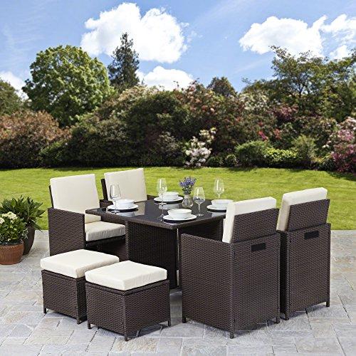 Rattan Gartenmöbel-Set 8-Sitzer, Rattanmöbel für den Außenbereich Cube Tisch Und Stuhl Im Set