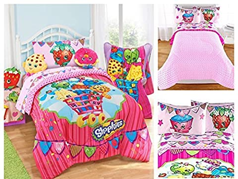 Shopkins Kids 4 Piece Bed in a Bag Twin Bedding Set - Reversible Comforter, Microfiber Sheets & Pillow Case by Moose Shopkins by Moose Shopkins