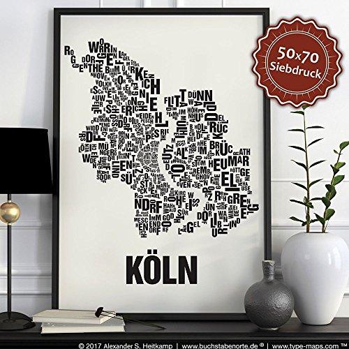 Köln Buchstabenort Schwarz auf Naturweiß