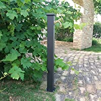 Fonderia Bongiovanni Fuente a Columna de Acero con Grifo de Latón Pulido para Exterior Casa Jardín