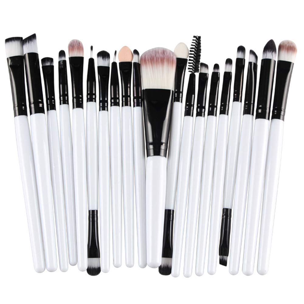 Pinceles de maquillaje Set, pinceles de maquillaje profesionales de 20 piezas Pincel de base sintética de primera calidad Polvos para el rostro, enjuague,cosméticos para ojos, kits de maquillaje,10