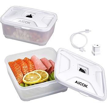 Contenitori per Sottovuoto, Aicok Set Universale con 2 Contenitori per Macchine Sottovuoto Alimenti, 600 ml e 800 ml