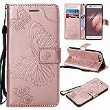 Cover Huawei P10 Fanxwu PU Flip Caso Farfalla Sbalzato Portafoglio Custodia Con la Funzione Stand Anti-Shock Bumper Skin Case-Oro Rosa