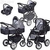 Eurocart PASSO Grau Schwarz 3in1 Kombikinderwagen Babywanne Buggy Autositz Babyschale 0-13 kg Multifunktional und mit XXL Ausrüstung