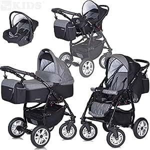 PASSO 3in1 Kombikinderwagen Babywanne + Buggy + Babyschale - Regenhaube - Moskitonetz - Schwenkräder - Wickeltasche - CARBON GRAU