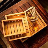 ExclusiveLane Handcrafted Wooden Serving Tray Set of 3 - Serving Tray Breakfast Tray Wooden Tray