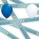 Absperrband Oktoberfest 6,1 m + 10 Gratis Blaue & Weiße Luftballons Ø 30 cm - partydiscount24®