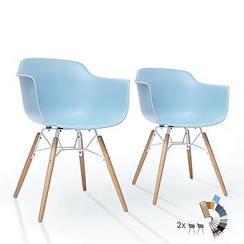 Amazon.de: 2er Set LTD83 Esszimmer Stühle Ice Blau Kunstoff Designer  Schalenstuhl Mit Buche Holz