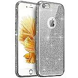 Coque iPhone 8 Plus,Coque iPhone 7 Plus,Strass bling cristal Sparkle glitter paillettes Transparent Silicone Gel TPU Cadre Brilliant Chromé Case Coque Housse Etui pour iPhone 8 Plus/7 Plus,Argent