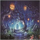 5 x 7ft Halloween Contexte de Photographie Toile de fond Photo Backdrop Tissu Photo fond Articles de décoration Halloween Horreur Forêt Style