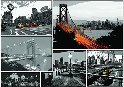 Welt-der-träume | papier peint intissé 130 g/m² | Comics Villes | | 10675 _ Ven-aw | City Urban Comics pont New York Taxi Cab America, Black and White,yellow, V4