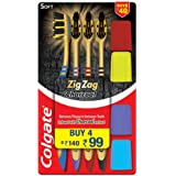 Colgate ZigZag Charcoal Soft Bristle Toothbrush - 4 Pcs