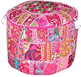 Fabric: 100% Cotton Fabric, Only Pouf Cover,;The Pouf cover will be sent in Assorted colors and Designs;Care: Dry Cleaning Or Cold Water Wash.;Measures approximately height 14x diameter 22.;As this is Hand patchwork Pouf, There will be variat...