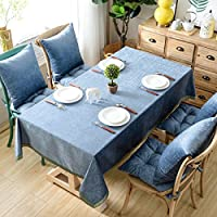 TAO Nappe Dentelle Pure Couleur Nappe Multi-usages Soie et Coton Couverture Tissu Famille Table À Manger Tissu Décoratif (Couleur : Bleu, taille : 130*130cm/51.2*51.2in)