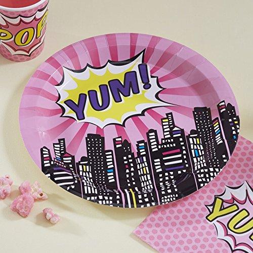 Pop Art Superheldinnen rosa 8 Teller 23 cm -