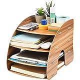 BUYGOO Wooden Desk Tidy Organizer Files Holder Rack Stationary Office File Storage Organizer, Wooden Desk Tidy Holder for Off