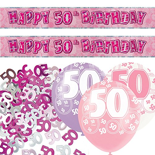 Pink Silver Girl Glitz 50th Birthday Party Decoration KIt