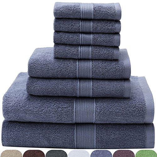 VEEYOO 8-teiliges Handtuchset Blau: 2 Badetücher, 2 Handtücher, 4 Waschlappen, 100{615d30984c48fc222157fb573e0fe1f75023ff0c01cc54d220b832484327c19f} Baumwolle Hotel & Spa-Qualität, extra weiches und hochabsorbierendes Handtuchset,