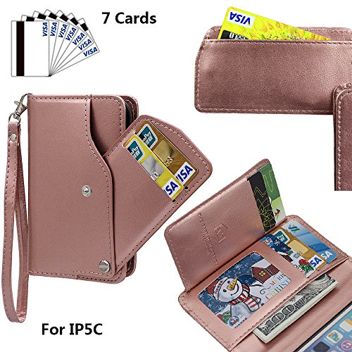 xhorizon TM MLK [Mise à niveau] [détachable] [séparable] 2 en 1 haut de gamme en cuir double-pli carte magnétique soutien le téléphone Compatible avec l'étui portefeuille avec cordon pour iPhone 5C(no Or Rose
