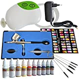 Profi AirBrush Kompressor Set Carry III-mit Airbrushpistole und Nailart Farben Set und Schablonen - Airbrush Kompressor für Airbrushfarben Airbrushpistole Single-Action-Gun 130 D 0,3 Düse, Fließbecher
