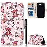 BtDuck Leather Case for Samsung Galaxy J3 2017 Embossed Cute Little Bear Brown Sleeping Dolls ( Cloth American Country Style ) Stand Painted pattern Phone Protector PU Leather Flip Folio Cover Anti-slip Skin Outdoor Protection Simple Strict Shockproof Heavy Duty Robust Bumper Case Shell with Stander Oyster Card ( Travel Card Bus Pass)Holder Slots Pocket Kickstand Function Magnetic Closure + 1 * Black Stylus Pen Black Look Up Put down the phone