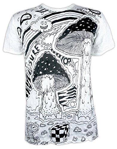 Power-pilze (Sure T-Shirt Herren Magic Mushrooms Magische Pilze Shirt Kunst Techno (Weiß M))