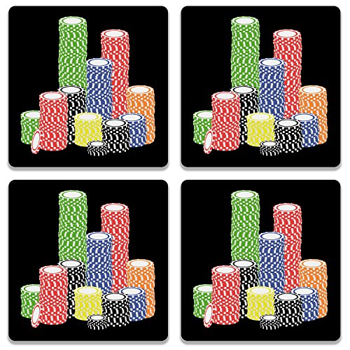 Colorpur Poker Chips Wooden Square Coaster (Set of 4) - 9.5 cm x 9.5 cm | Artist: Torben  available at amazon for Rs.499