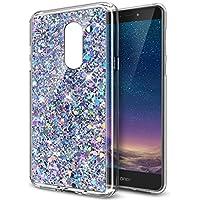 Ikasus® - Carcasa ultrafina de silicona y poliuretano termoplástico suave, flexible y transparente, con partículas brillantes de estilo purpurina en el interior para Huawei Honor 6X, plateado, Huawei Honor 6X case