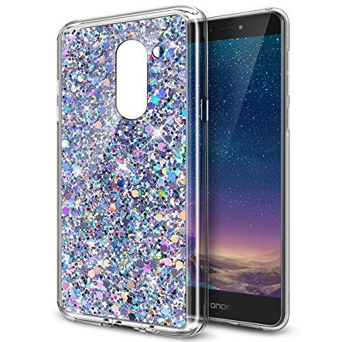 Huawei Honor 6X Hülle,ikasus Glänzend Bling Glitzer Diamant Muster TPU Silikon Handy Hülle Tasche Silikon Case Durchsichtig Handyhülle Etui Case Cover Schutzhülle für Huawei Honor 6X,Silber