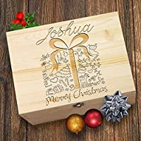 TWISTED ENVY Decorative Christmas Present Personalised Wooden Christmas Eve Box