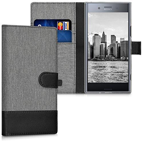 kwmobile Sony Xperia XZ Premium Hülle - Kunstleder Wallet Case für Sony Xperia XZ Premium mit Kartenfächern & Stand - Grau Schwarz