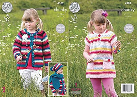 King Cole Girls Big Value Chunky Knitting Pattern Raglan Sleeve Dress Cardigan Hat & Scarf (4382)