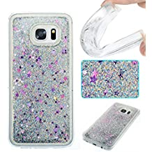 Coque S7 Edge Etui TPU pour Galaxy S7 Edge Anfire 3D Liquid Sables Mouvants Case Étoile Paillettes Housse pour Samsung Galaxy S7 Edge Plus (5.7 pouces) Bling Glitter Transparent Gel Silicone Etui de Protection Bumper Souple Quicksands Arrière Cristal Strass Case Cover - Argent