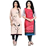 Navlik Women's Crepe Stitched Kurta Combo Pack of 2 ()