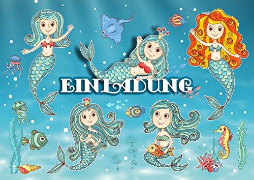 MEERJUNGFRAU (Set 1)/Geburtstagseinladungen Mädchen Kinder: 12-er Set Einladungen für den Mädchen Kindergeburtstag/Pool-Party/Schwimmen von EDITION COLIBRI (10964) ()