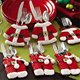Kranich 6X Posate di Natale Argenteria titolari Tasche Forchetta per coltelli Borsa per Babbo Natale Xmas Party Dinner Table Decoration