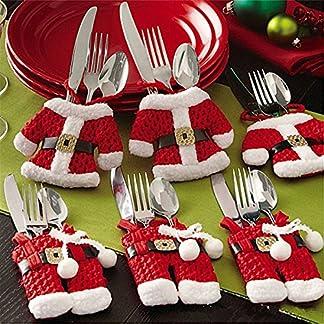 6 x Bolsa Cubiertos Navidad Set Navideño Traje de Santa de Cuchillo y Tenedor Holder Cena Party Cocina Decoración de Mesa
