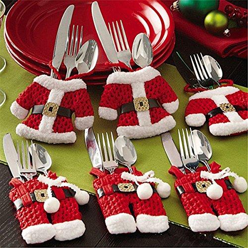 ZOGIN 6 Piezas Bolsa Cubiertos Navidad Linda (Cuchillo Tenedor Cuchara) Forma de Traje de Papá Noel (3 Chaquetas 3 Pantalones) - para la Fiesta de Navidad más Interesante