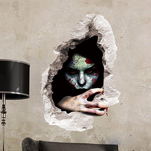 OverDose Wandaufkleber Halloween, Gruselmotiv, 3D-Wandaufkleber / Wandtattoo, zur Dekoration 60 x 45cm #2 - Licht-jelly Jar