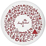 Round Rug Mat Carpet,Christmas,Vintage Merry Xmas Wreath with Several Noel Yule Icons Ribbons Candles Bells Image,Red,Flannel Microfiber Non-Slip Soft Absorbent,for Kitchen Floor Bathroom