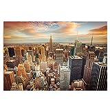 Feeby Frames, Cuadro en lienzo, Cuadro impresión, Cuadro decoración, Canvas 60x80 cm, NEW YORK, PUESTA DEL SOL, ANARANJADA, AZUL, BLANCO